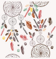 background with hand drawn dream catcher vector image vector image