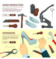 banners design template with shoe repair tools vector image vector image