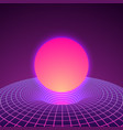 black hole and warp space in neon colors 80s vector image vector image