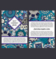 brochure with blue floral ethnic pattern vector image vector image