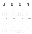 Calendar 2014 on white background vector image