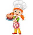 Cartoon little girl holding cake vector image