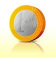 cartoon simple euro coin vector image vector image