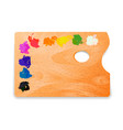 classic rectangle wooden artist palette with oil vector image vector image