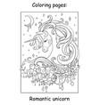 cute romantic unicorn portrait coloring book vector image