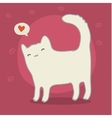 Cute white cat on pink vector image