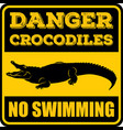 danger crocodiles no swimming sign vector image