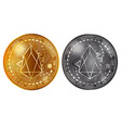 eos gold and silver coins vector image vector image