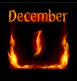 first december in calendar of fire icon on black vector image vector image