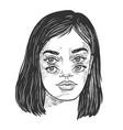 four eyes girl sketch engraving vector image vector image