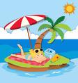 Girl enjoying summer on the island vector image vector image