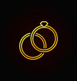 golden engagement rings icon - outline vector image
