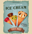 grunge and vintage ice cream cones poster vector image vector image