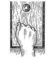hand knock door engraving vector image vector image