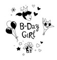 happy birthday b-day girl with crown lettering vector image vector image