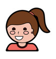 happy girl with ponytail kid child icon image vector image