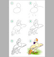 how to draw step step cute little parrot vector image vector image