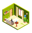 isometric man in recreation room vector image vector image