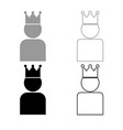 king in crown icon outline set grey black color vector image vector image
