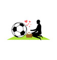 lover soccer guy and football ball on picnic meal vector image vector image
