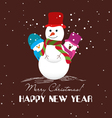 Merry christmas card with snowmans vector image vector image