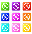 no spider sign icons 9 set vector image vector image