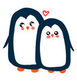 penguin in love on white background vector image vector image