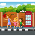 People walking on the pavement vector image