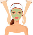 portrait of happy woman receiving face massage at vector image
