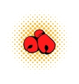 Red boxing gloves icon comics style vector image