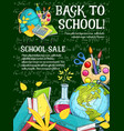 sale banner with school supplies on chalkboard vector image vector image