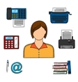 Secretary with office devices icons vector image