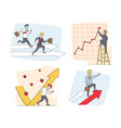 set businesspeople characters and growing vector image vector image