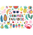 set isolated elements summer paradise vector image vector image