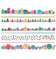 Set of festive colorful elements drawn in a row vector image