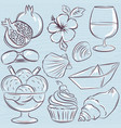 set of summer symbols clams shells ice cream vector image