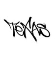 sprayed texas font graffiti with overspray in vector image