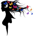 Spring symbol The beautiful girl with butterflies vector image
