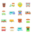 Street food kiosk vehicle icons set cartoon style vector image vector image