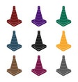 traffic cone icon in black style isolated on white vector image vector image