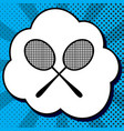 two tennis racket sign black icon in vector image