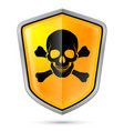 warning sign on shield indicating of skull vector image vector image