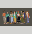 young people full-length students in various vector image