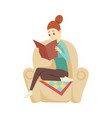 young woman read book sitting in a chair vector image