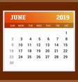 2019 happy new year june calendar template vector image vector image