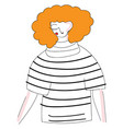 abstract of a girl with orange curly hair in vector image vector image