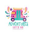 adventures lets go logo design summer vacation vector image vector image