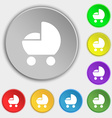 baby pram icon sign Symbol on eight flat buttons vector image vector image