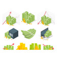 big set of money icons piles dollars and coins vector image vector image