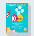 birthday party invitation card you are invited vector image vector image